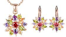 Gift Set Color Snowflake AAA Cz RoseGoldPlate Necklace & Earring Set - Bamoer