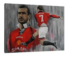Eric Cantona 30x24 Inch Canvas - Manchester United Framed Football Picture Art