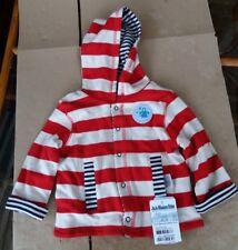Jojo Maman Bebe Boys' Stripe Reversible Hoodie - Red/Ecru Stripe 6-12 Months