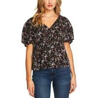 CECE NWT Women's Black Floral Print Surplice Short Sleeve Blouse $79 Sz Lg
