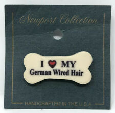 Vintage Dog Bone Pin: I Love My German Wired Hair | Made In Usa | Hat Backpack