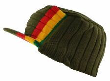 Rasta Visor Beanie Cap Stripe Jamaica Reggae Hat Olive Green Red Yellow Green