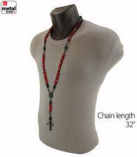 Men's Hip Hop 8mm RED Bead Black Rosary Pray Hand & Jesus Cross Necklace BKRD