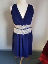 LITTLE MISTRESS @ ASOS ~ BEAUTIFUL NAVY BLUE & CREAM LACE  DRESS ~ SIZE 10 ~ VGC