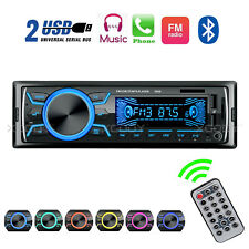 Single 1 DIN Car Stereo MP3 Player Bluetooth Audio In-Dash AUX TF 2 USB Radio