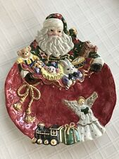 """Fitz And Floyd """"Father Christmas� Canape Plate with Santa and Toys"""