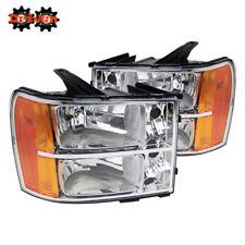 07-13 GMC Sierra Truck Chrome Housing Headlights w/Amber Reflector Crew Single