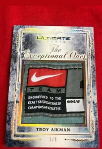 2019 Leaf Ultimate Sports Troy Aikman Game Used Jumbo Patch 1/1 Exceptional Ones