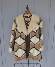 RARE VINTAGE BROADWAY MINK FUR COAT - HARPER - PATCHWORK PATTERN - LEATHER