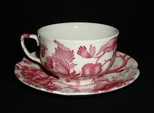 Johnson Bros English Chippendale Red Pink Cup(s) & Saucer(s) VGVC