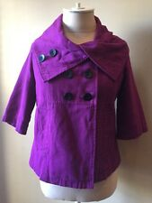 Tulle Womens Purple Double Breasted Short Pea Coat 3/4 Sleeve Size S