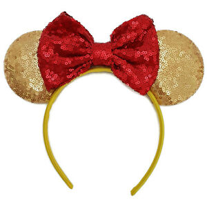 Minnie Mouse Ear Headband Sparkle white blue Sequin Frozen halloween party Event