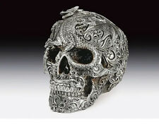 Skull Silver with Dragon Decor  Figurine Statue Skeleton Halloween
