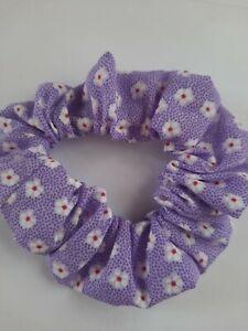 Handmade Lilac Daisy Primt Hair Scrunchie.