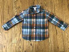 Janie and Jack Plaid Blue Orange Roll Up Button Down Dress Shirt 3T