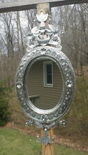 """Mexican Handmade Punched Tin Nido Mirror with Birds Nest Leaves Flowers 33""""x14"""""""