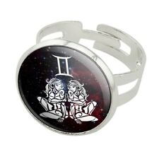 Gemini Twins Zodiac Sign Horoscope in S Silver Plated Adjustable Novelty Ring