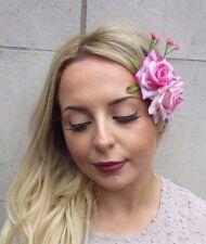 Light Pink Double Rose Blossom Flower Hair Clip Bridesmaid Fascinator Vtg 2990