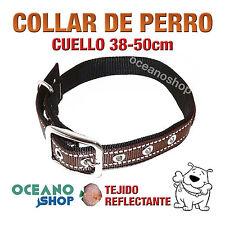 COLLAR PERRO MARRÓN TEJIDO REFLECTANTE AJUSTABLE CUELLO 38-50 L90 3402