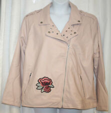 NEW WOMENS PLUS SIZE 3X PINK MAUVE STUDDED FAUX LEATHER EMBROIDERED MOTO JACKET