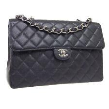 CHANEL Classic Flap Jumbo Double Chain Shoulder Bag 6710711 Black Caviar 36768