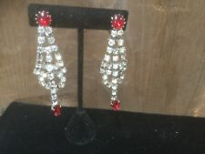 Vintage long dangle clear & red rhinestone clip on earrings