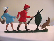"""Vintage 10""""L Painted Metal Mail Box Topper 2 Hunting Figures Rifle Rabbit Tree"""