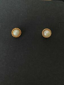 (New) 14K 5mm Yellow Gold Cultured Pearl  Post Earrings with 14K  Jackets