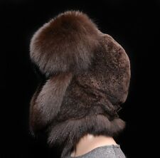 Saga Furs Chocolate Brown Fox & Sheepskin Handmade Men's Bomber Aviator Hat