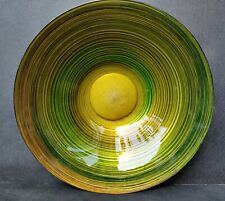 20th Century Italian Glass Art Large Bowl/ Charger Green Swirl & Gold Leaf base