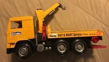 BRUDER TOY TOW TRUCK YELLOW - SLIDE TRUCK - WRECKER - MADE IN GERMANY