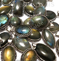 100 PCs Black Rainbow Labradorite Wholesale Lot Silver Plated Pendants