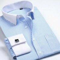 Mens Long Sleeves Shirts Striped French Cuff Dress Business Work Blouse WC6340