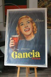 GANCIA EPOCA 1953 manifesto originale timbro affissione spumante champagne vino