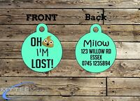 "Personalized Dog Cat ID Tags for Funny Pets ""Oh S*** I'm Lost!"" Double Sided"