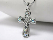 Cross Stone Pendant Crystal Stud Metal Necklace Silver Elegant Fashion Jewelry