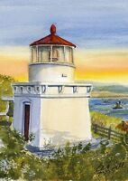 Trinidad Head Lighthouse Sunset, California. Gerald Hill Watercolor Art Prints