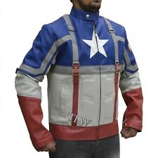Chris Evans Leather Jacket, Movie Avengers Assembled Captain America, PU Leather