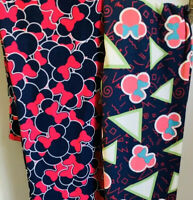 X2 Lularoe Disney Minnie Mouse Mickey Heads Bright Pink NBC leggings OS Triangle