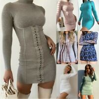 Women Casual Long Sleeve Slim Mini Dress Ladies Party Cocktail Bodycon Dresses