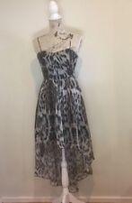 FOREVER NEW Women's Leopard Print Drop Back Strapless Dress - Size 8 - 100% Silk