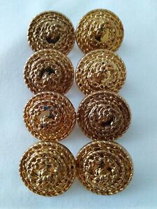 8 Gold Plastic Shank Buttons - 18mm