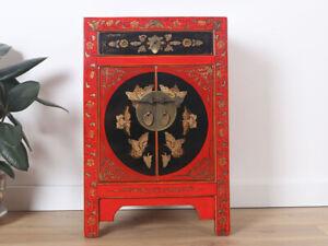 chinesische Kommode Sideboard 1 Schublade 2 Türen bemalt rot #M-KOM-Y537