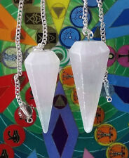 2 HAND CARVED Large SELENITE CRYSTAL DOWSING PENDULUM With Pouch