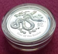 2013 AUSTRALIA LUNAR SNAKE HIGH RELIEF  SILVER ONE DOLLAR  PROOF COIN BOX +COA