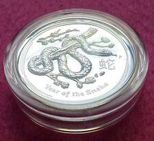 2013 Australia Lunar Serpente High sollievo ARGENTO un Dollaro PROOF COIN BOX + COA