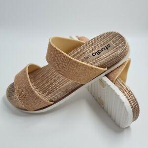 Studio Women's Pink Sandals Glittered Flip Flops Size UK 8 (EU 41) - Brand New