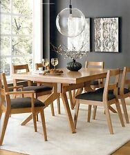 Amish Modern Mid-Century Trestle Dining Table Set 7-Pc. Rectangle Solid Wood