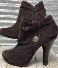 Unlisted by Kenneth Cole Brown Suede Ankle Bootie Zipper medallion Woman's sz 6M