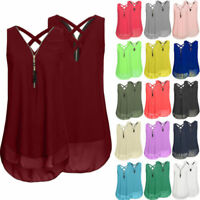 Sexy Ladies Camisole Cami Flared Chiffon Sleeveless Vest Womens Strappy Vest Top